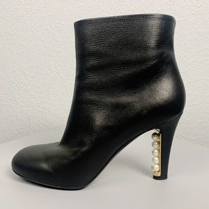Chanel 13A Pearl Embellished Heel Ankle Booties